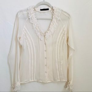 Yigal Azrouel Cream Silk Ruffle Blouse Sz 6